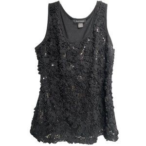 Ashley Stewart Sequined Floral Sleeveless Top